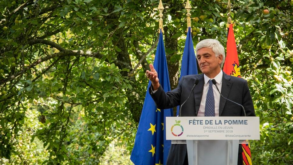 Hervé Morin, président du mouvement Les Centristes et de la région Normandie, le 1er septembre 2019 à Épreville-en-Lieuvin (Eure)