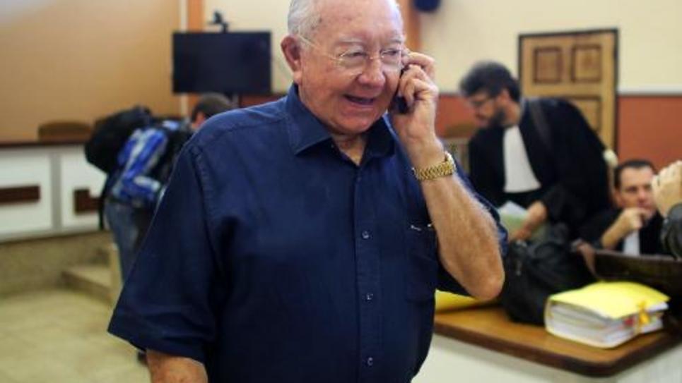 Gaston Flosse le 23 juin 2014 au tribunal à Papeete
