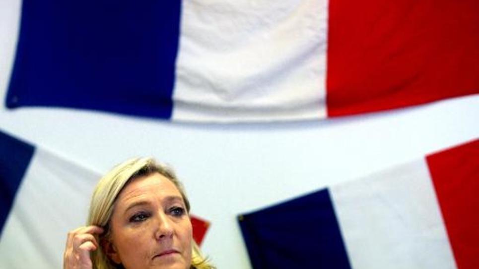 La présidente du FN Marine le pen, le 11 novembre à Châlons-en-Champagne