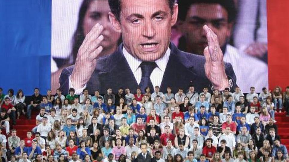Nicolas Sarkozy s'exprime lors d'un meeting de la campagne présidentielle, le 29 avril 2007 au Palais omnisport de Paris-Bercy