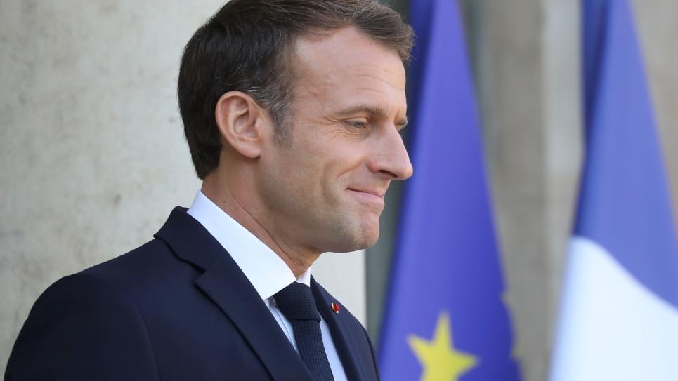 Emmanuel Macron sur le perron de l'Elysée le 14 octobre
