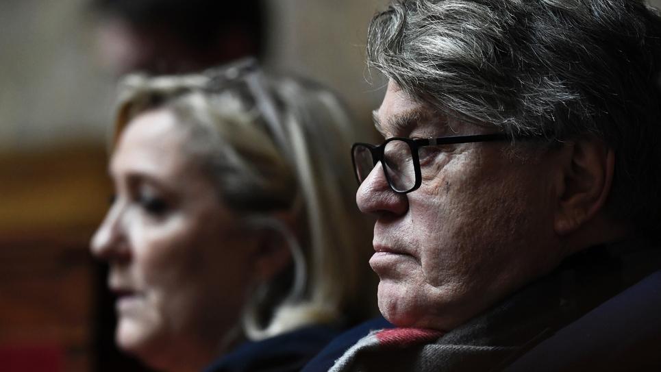 Marine Le Pen et Gilbert Collard, députés RN, à l'Assemblée nationale le 13 février 2019