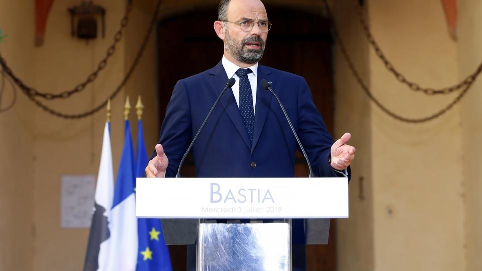 Le Premier ministre Edouard Philippe, le 3 juillet 2019 à Bastia, en Corse