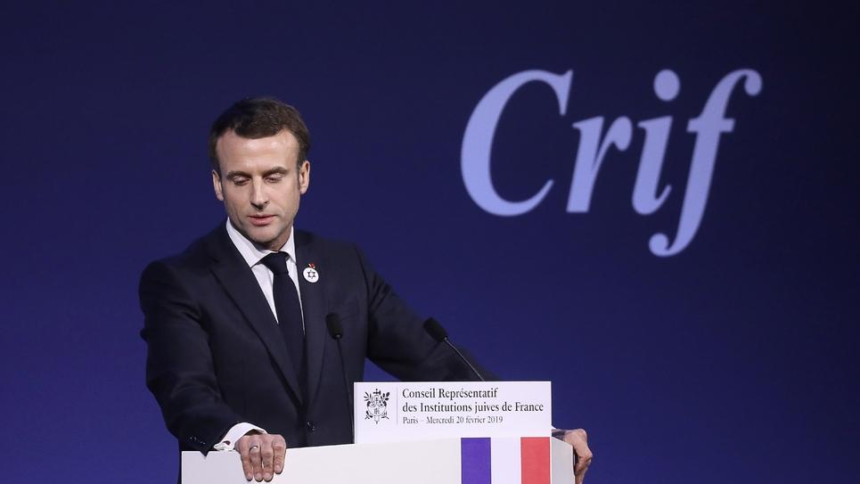 Le président Emmanuel Macron prononce un discours devant le Conseil représentatif des institutions juives de France (Crif), le 20 février 2019 à Paris