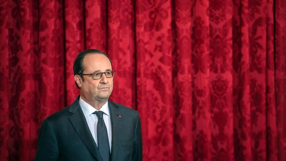 François Hollande lors de la remise de la Légion d'honneur à l'ambassadrice américaine à Paris, le 16 janvier 2017