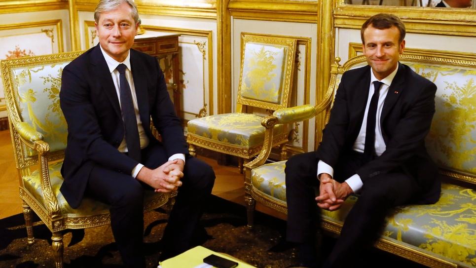 Laurent Hénart, président actuel du Mouvement radical (à gauche), reçu par le chef de l'Etat Emmanuel Macron le 21 novembre 2017 à Paris