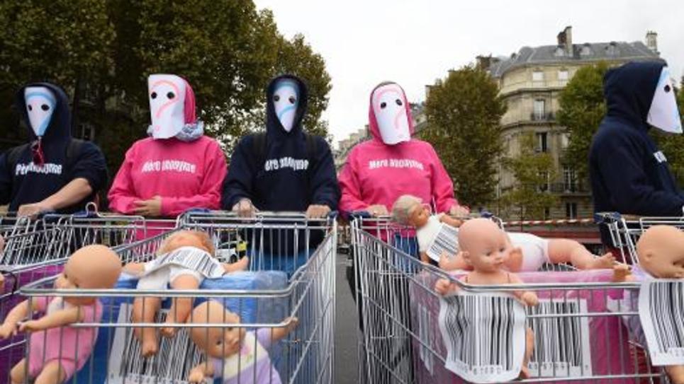 """Des membres de """"la Manif Pour Tous"""" le 5 octobre 2014 à Paris"""