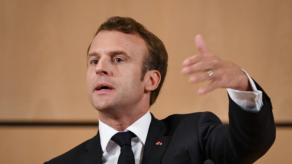 Le président Emmanuel Macron s'exprime le 11 juin 2019 à Genève