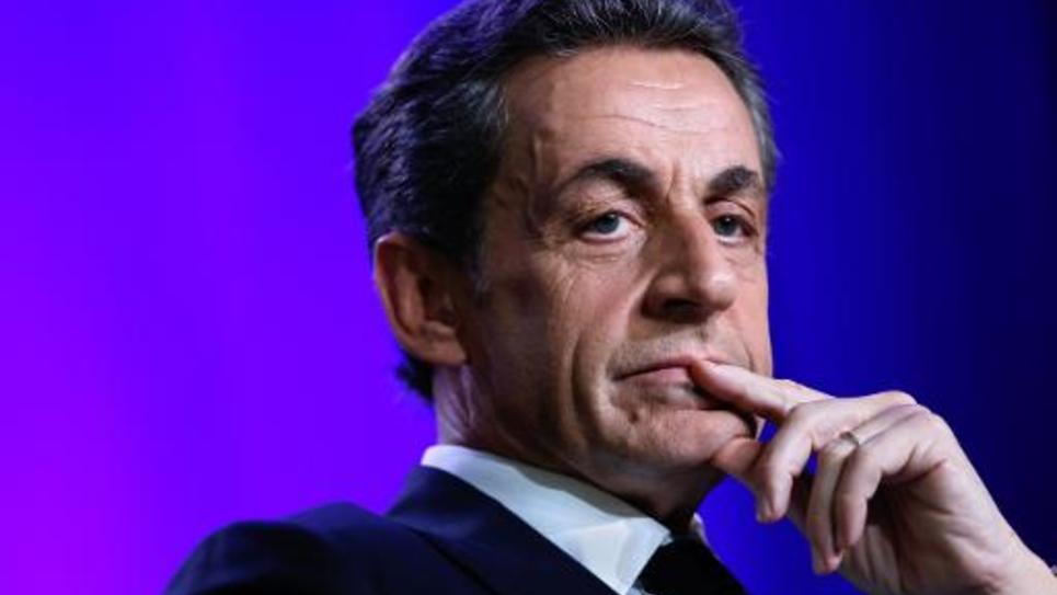 Le président de l'UMP Nicolas Sarkozy, lors d'un meeting pour les départementales le 24 mars 2015 à Asnieres-sur-Seine