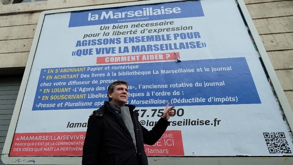 Le candidat à la primaire du PS, Arnaud Montebourg à Marseille, le 20 janvier 2017