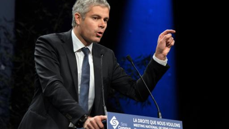 Le député UMP Laurent Wauquiez lors d'un meeting politique le 15 novembre 2014 à Paris