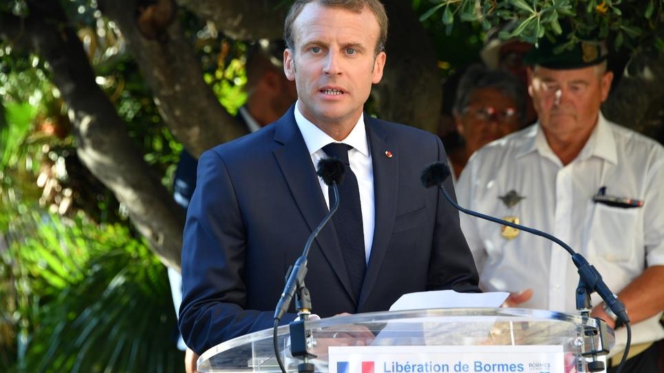 Emmanuel Macron à Bormes-les-Mimosas, le 17 août 2018