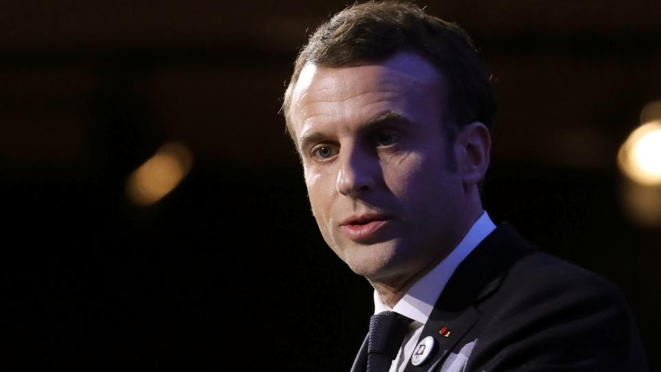 Le président Emmanuel Macron, lors du dîner du Crif, le 20 février 2019 à Paris