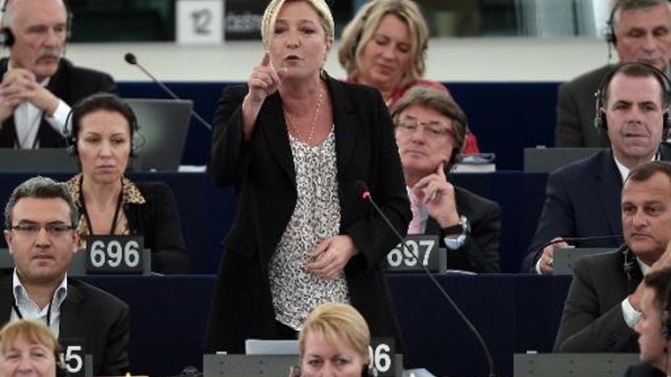 La présidente du Front National (FN)  Marine Le Pen le 2 juin 2014 au Parlement européen à Strasbourg