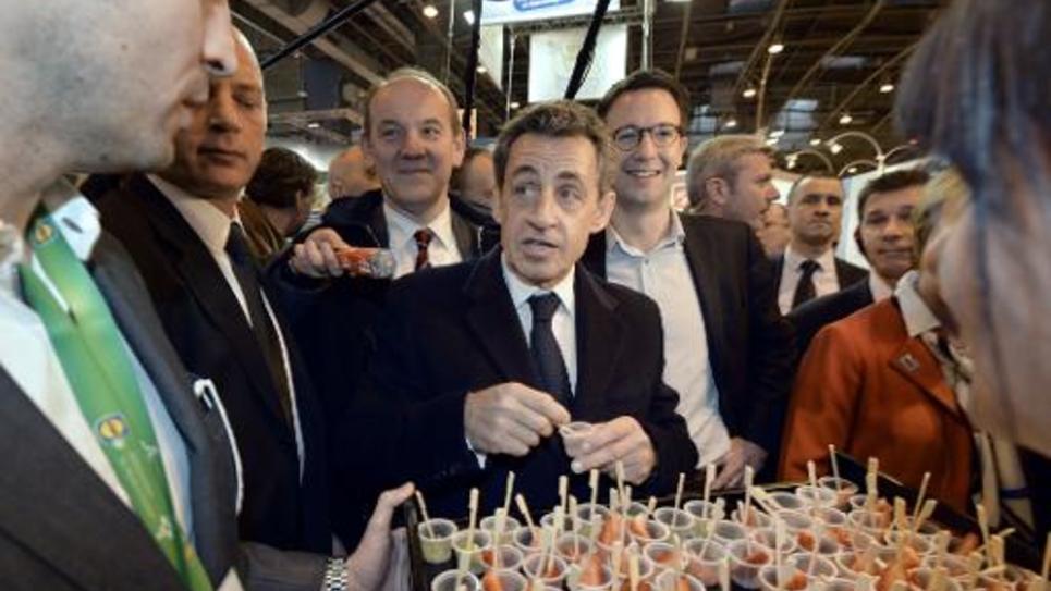 L'ex-chef de l'Etat Nicolas Sarkozy au salon de l'agriculture à Paris le 25 février 2015