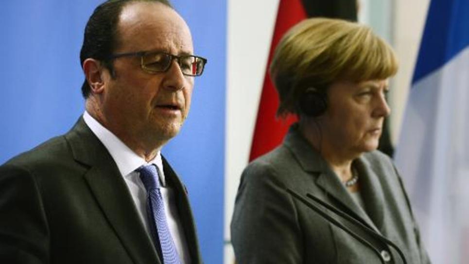 François Hollande et Angela Merkel à Berlin, le 31 mars 2015