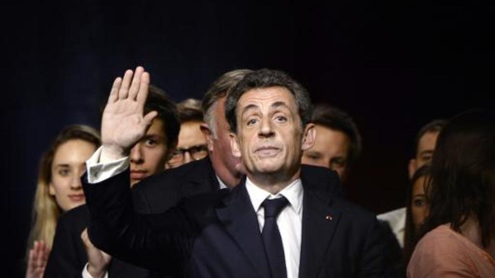 Le candidat au poste de président de l'UMP Nicolas Sarkozy lors d'un meeting à Vélizy-Villacoublay, le 6 octobre 2014
