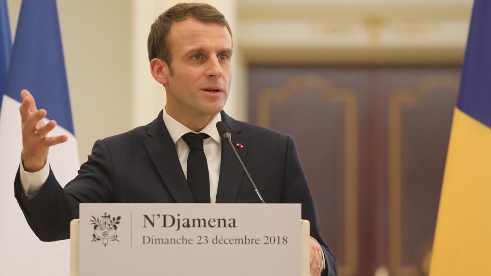 Le président français Emmanuel Macron à N'Djamena le 23 décembre 2018