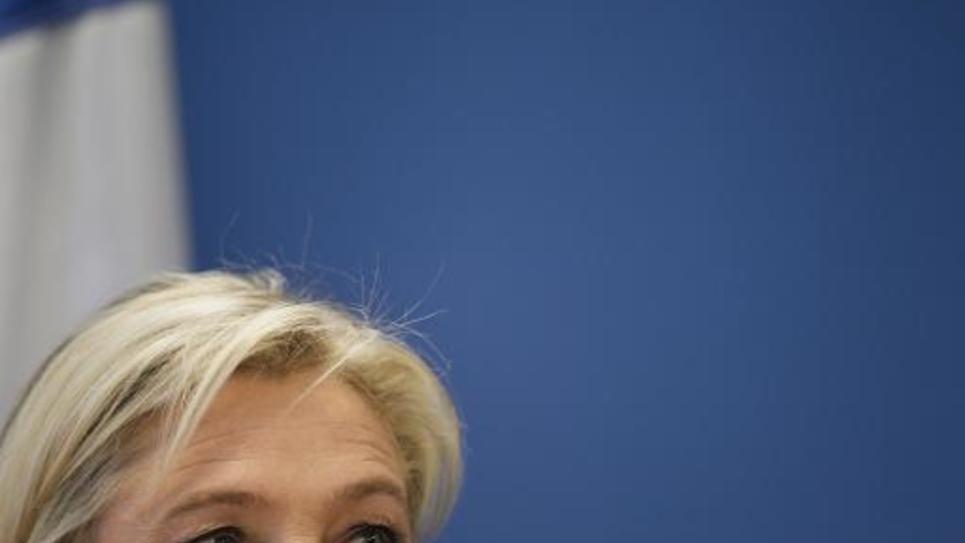 La présidente du Front National, Marine Le Pen, pendant une conférence de presse le 16 janvier 2015 à Nanterre, près de Paris