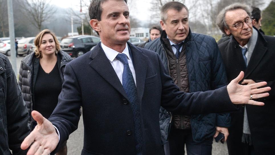 Manuel Valls, candidat à la primaire socialiste, le 7 décembre 2016 à Fesches-le-Châtel dans le Doubs