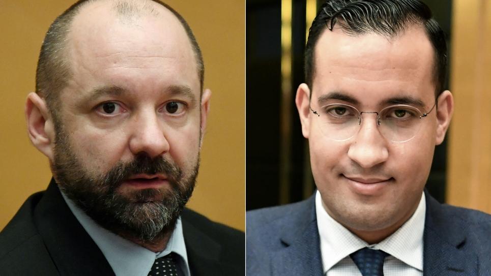 Vincent Crase et Alexandre Benalla devant la commission d'enquête du Sénat le 21 janvier 2019 à Paris (PHOTO MONTAGE)
