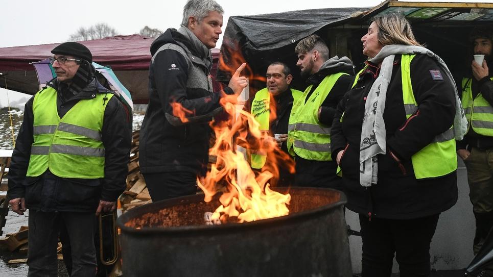 Le président des Républicaisn Laurent Wauqiez en visite dans le territoire de Belfort, le 1er février 2019