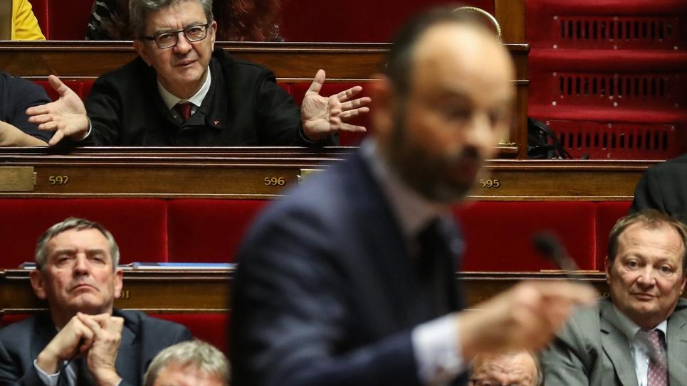 Jean-Luc Mélenchon réagit aux propos d'Edouard Philippe à l'Assemblée nationale le 3 mars 2020 à Paris