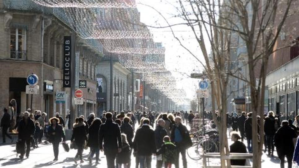 Artère commerciale dans le centre de Toulouse, le 21 décembre 2014