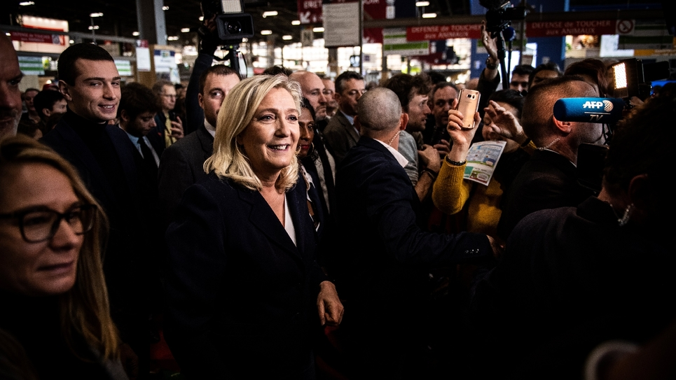 Marine Le Pen, présidente du Rassemblement national, au Salon de l'Agriculture, le 25 février 2020 Porte de Versailles, à Paris