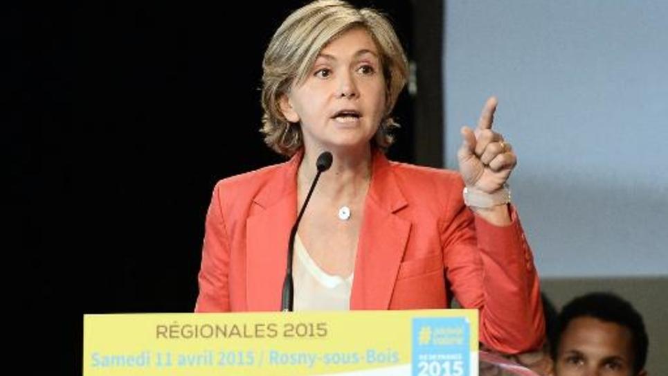 Valérie Pécresse lors de son meeting pour le lancement de sa campagne pour les régionales, le 11 avril 2015 à Rosny-sous-Bois, en Seine-Saint-Denis