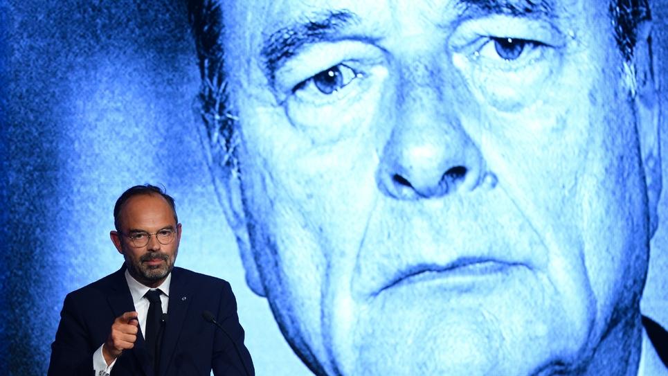 Le Premier ministre Edouard Philippe rend hommage à Jacques Chirac, lors de l'université de rentrée du MoDem à Guidel, dans le Morbihan, le 29 septembre 2019