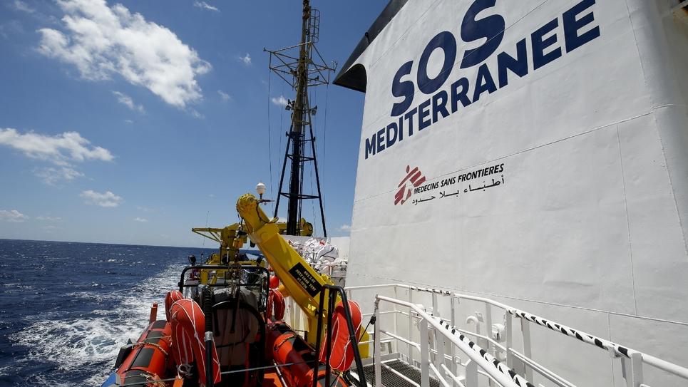 Le navire de secours Aquarius, affrêté par l'association SOS Méditerranée, le 26 juin 2018