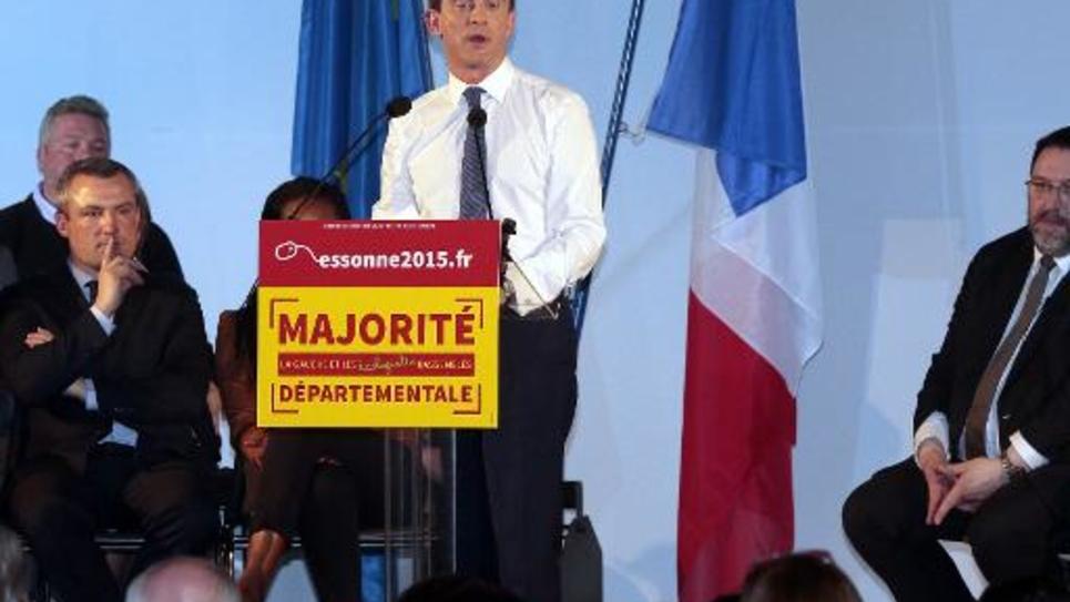 Manuel Valls lors d'un meeting à Evry le 16 mars 2015