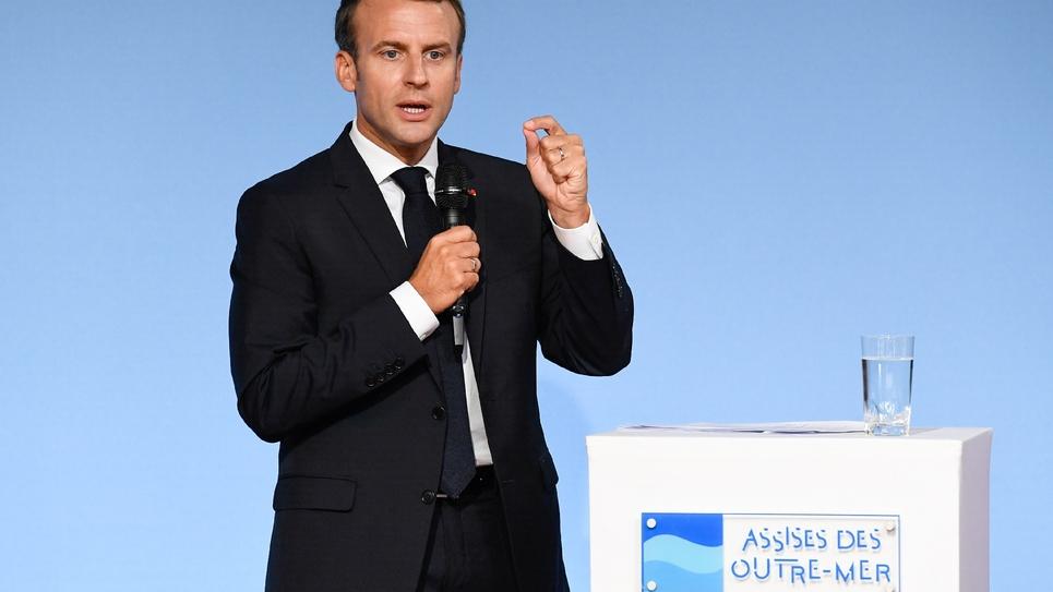 Le président français Emmanuel Macron aux Assises des Outre-Mer au palais de l'Élysée à Paris, le 28 juin 2018
