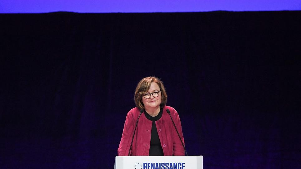 Nathalie Loiseau, tête de liste LREM pour les élections européennes, s'exprime lors d'un meeting à Strasbourg le 11 mai 2019