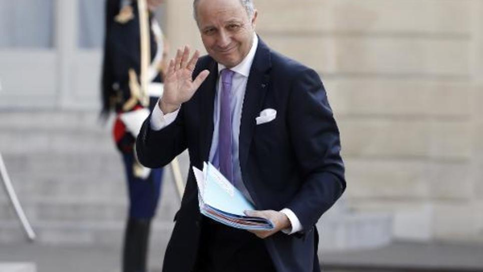 Le ministre des Affaires étrangères Laurent Fabius arrive à l'Elysée le 29 avril 2015