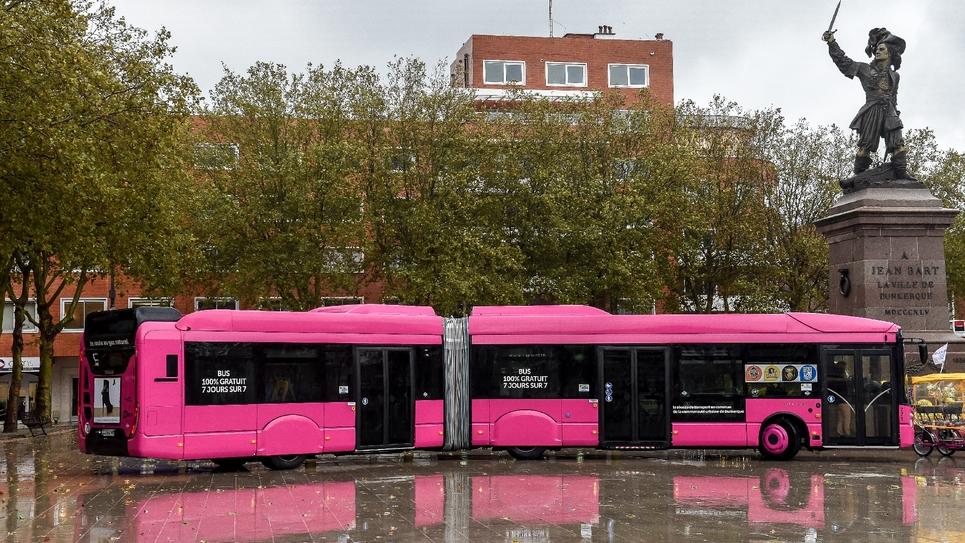 L'un des bus 100% gratuits en service à Dunkerque. Photo prise le 30 octobre 2018.