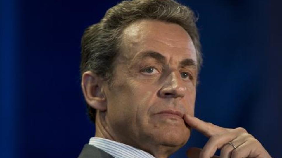 L'ancien président français et actuel président de l'UMP Nicolas Sarkozy lors d'une réunion politique le 11 mai 2015 aux Pavillons-sous-Bois, en Seine-Saint-Denis