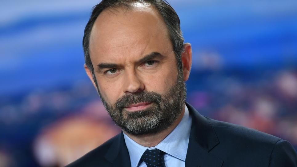 Edouard Philippe sur le plateau de TF1, dans les tudios de la chaîne à Boulogne-Billancourt (Hauts-de-Seine) le 7 janvier 2019