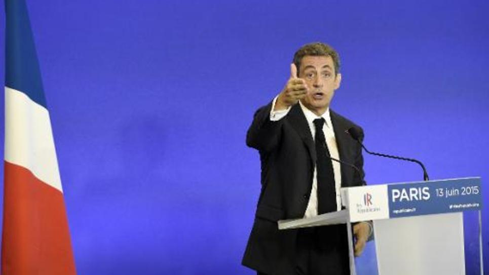 Nicolas Sarkozy s'adresse à de nouveaux membres de son parti, Les Républicains, le 13 juin 2015 à Paris