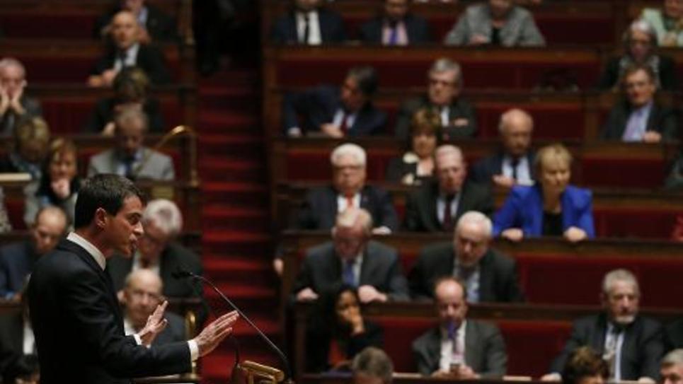 Le Premier ministre Manuel Valls le 17 février 2015 à l'Assemblée nationale à Paris