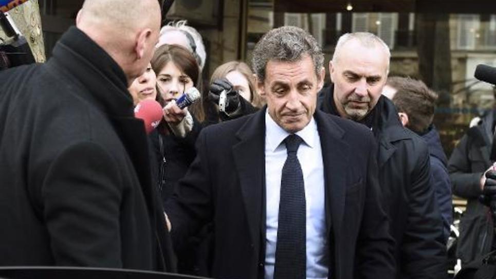 Nicolas Sarkozy à l'issue d'un déjeuner avec les anciens Premiers ministre UMP, le 20 janvier 2015 à Paris