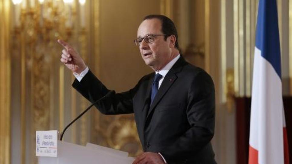 Le président François Hollande à l'Elysée lors d'une conférence de presse le 5 février 2015