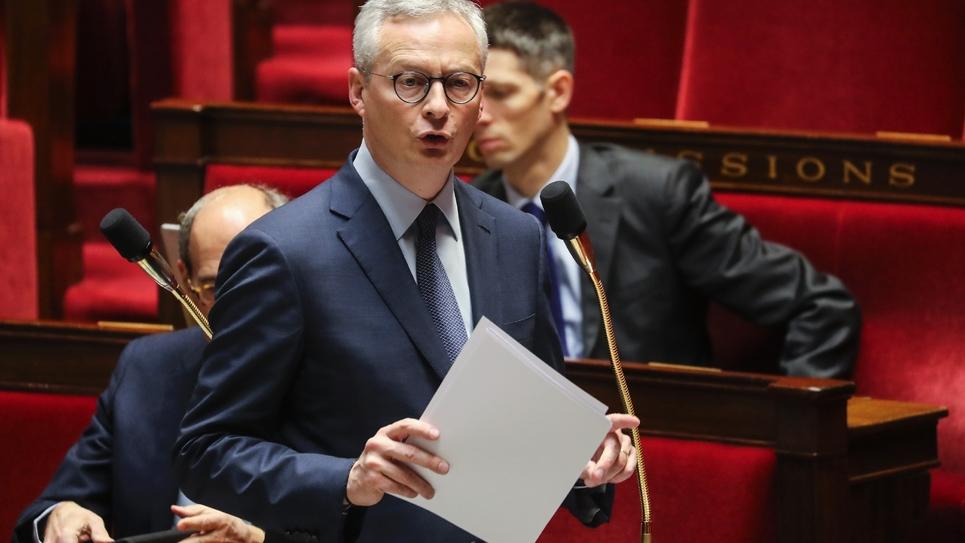 Le ministre de l'économie et des finances Bruno Le Maire s'addresse aux députés, à l'Assemblée nationale à Paris le 19 mars 2020