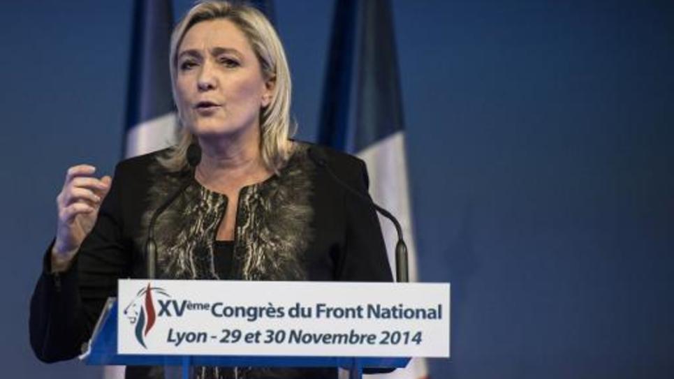 Marine Le Pen lors de la clôture du Congrès du Front national, le 30 novembre 2014 à Lyon