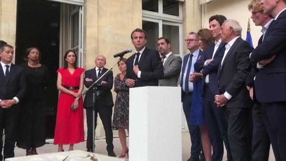 Capture d'écran d'une vidéo de l'allocution d'Emmanuel Macron devant les députés de sa majorité le 24 juillet 2018 à Paris