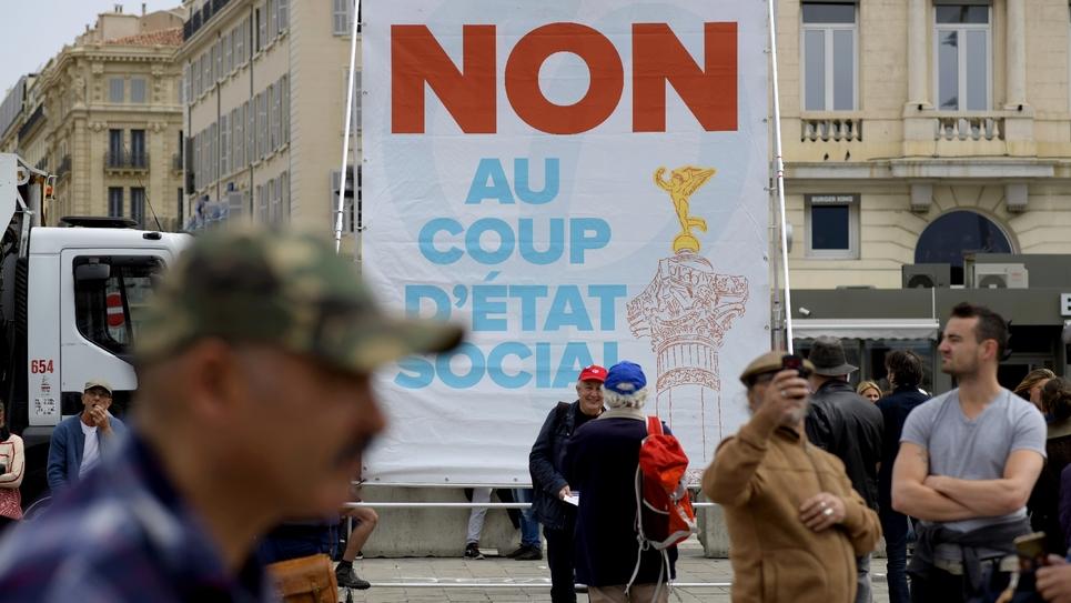 Manifestaton à Marseille le 14 avril 2018 contre la politique du président Emmanuel Macron