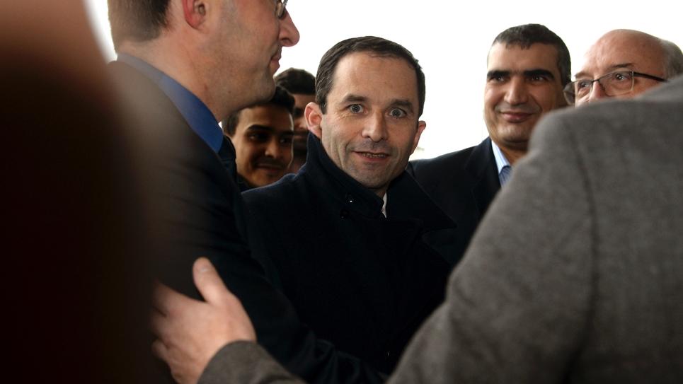 Le candidat socialiste à la présidentielle Benoît Hamon, à Paris au Salon des Entrepreneurs le 2 février 2017