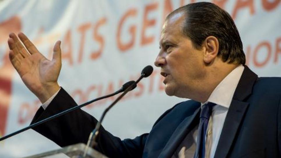 Le Premier secrétaire du Parti socialiste, Jean-Christophe Cambadélis, lors d'un meeting du PS à Lomme le 13 septembre 2014