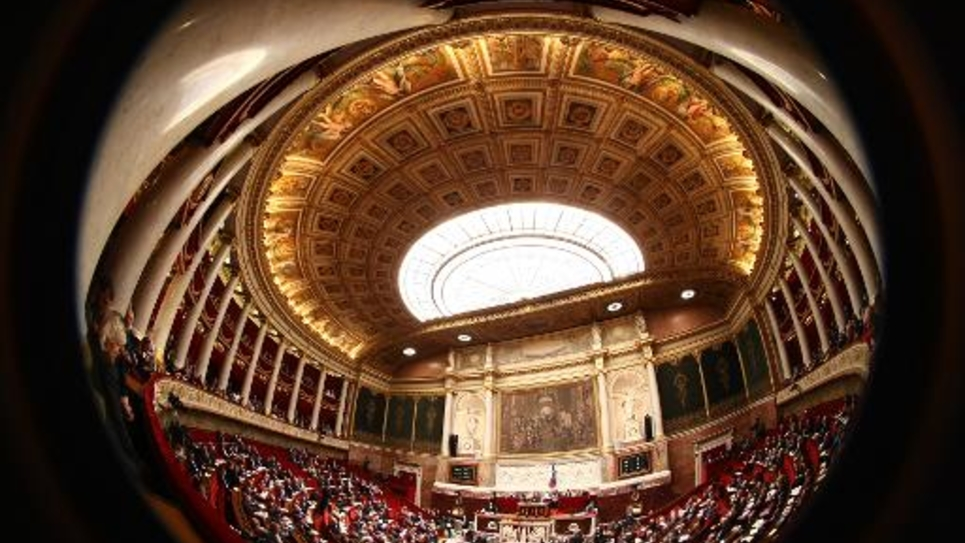 Vue de l'hémicycle de l'Assemblée nationale, à Paris, en mars 2009